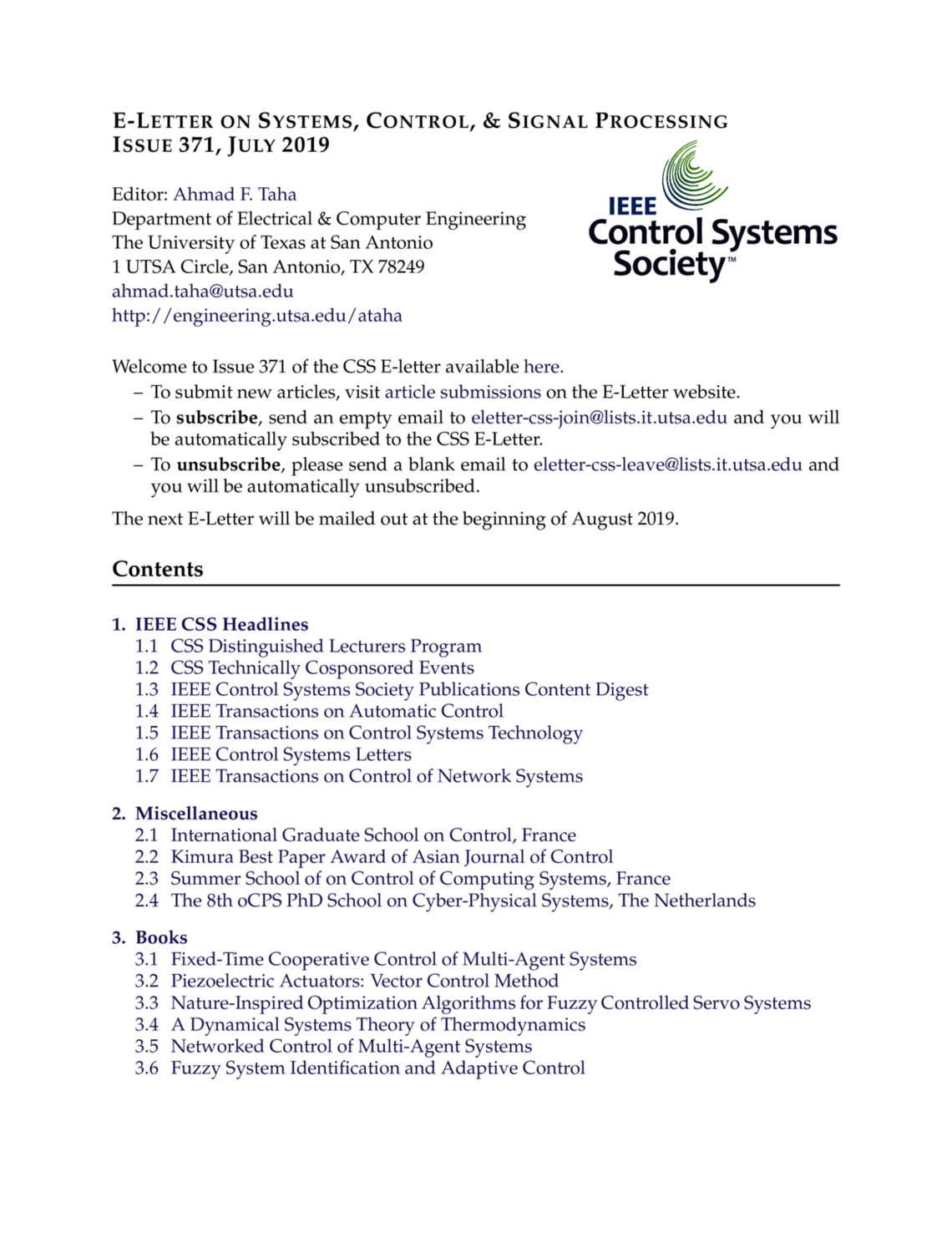 E-Letter on Systems, Control, & Signal Processing | Issue